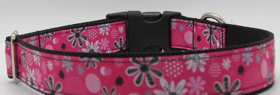 Hot Pink Flowers Dog Collar