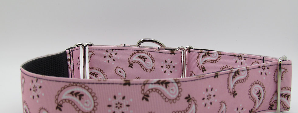 "1 1/2"" Pink Paisley Bandana Print Martingale Dog Collar"