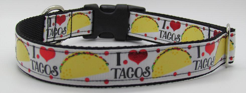 I LOVE TACOS Dog Collar