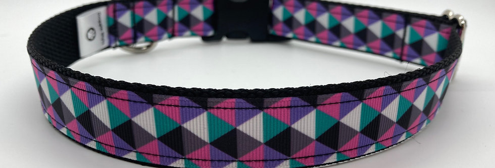 Pink/Teal/Purple Geometric Dog Collar