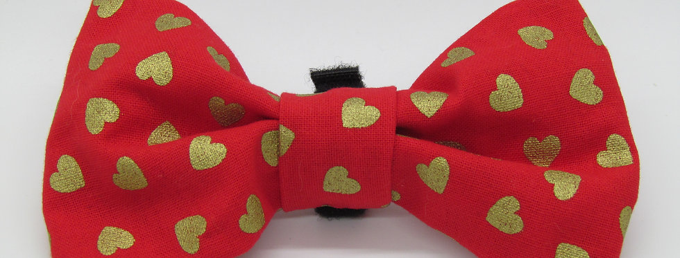 Red and Gold Hearts Dog Bow Tie