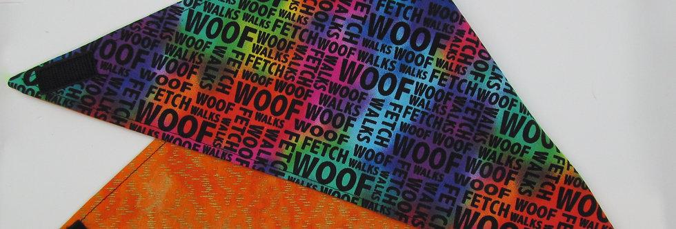 WOOF (Orange) Reversible Dog Bandana