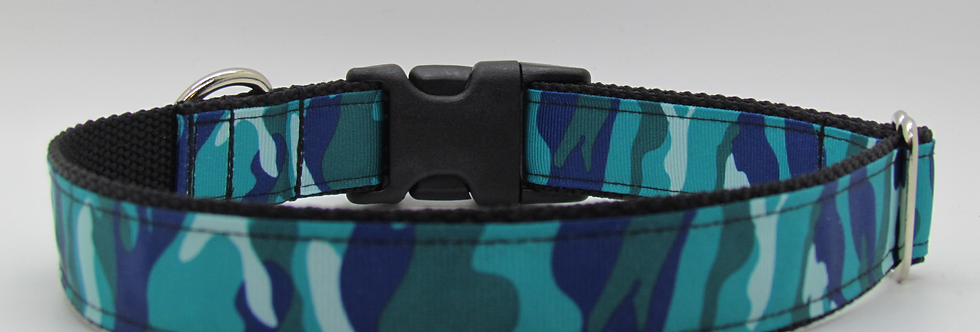 Teal Camouflage Dog Collar
