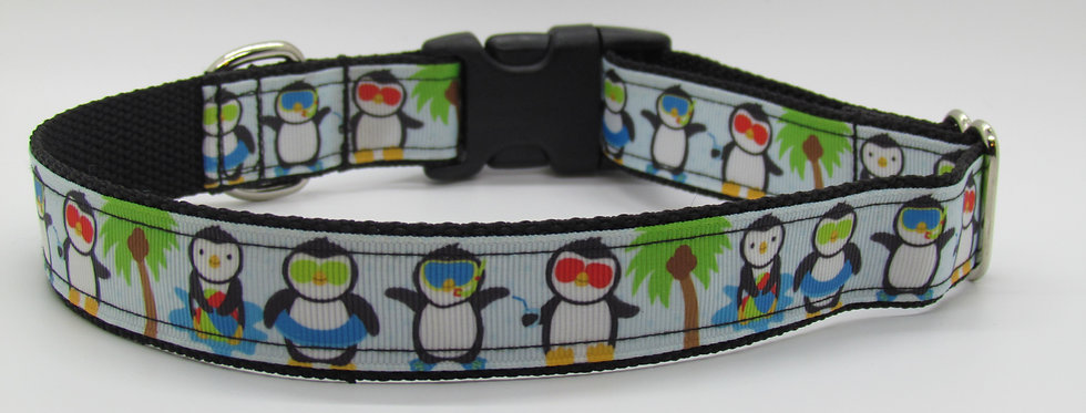 Penguins and Palm Trees Dog Collar