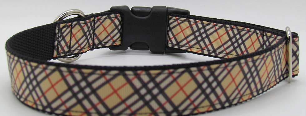 Burberry Inspired Plaid Dog Collar