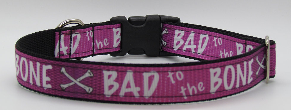 Bad to the Bone (Pink) Dog Collar