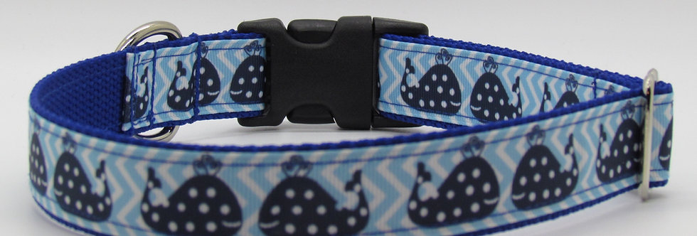 Polka Dot Whales (Blue) Dog Collar