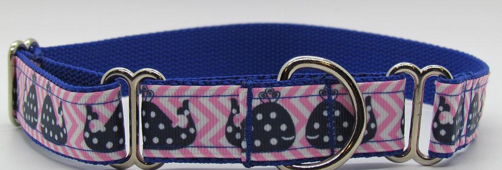 Pink Polka Dot Whales Martingale Dog Collar