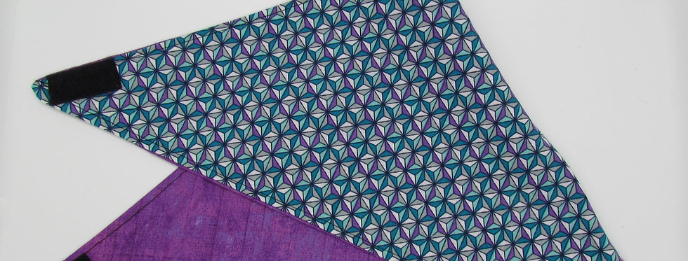 Purple and Teal Print Reversible Dog Bandana