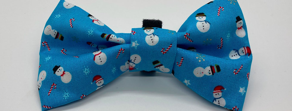 Holiday Light Blue Snowman Dog Bow Tie