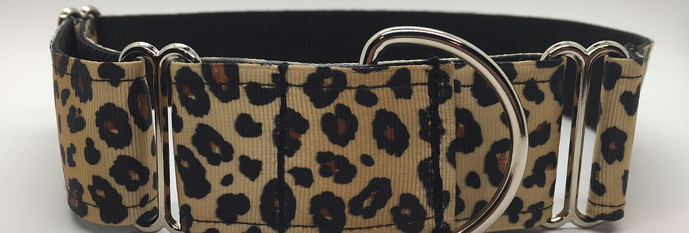 "1 1/2"" Leopard Martingale Dog Collar"