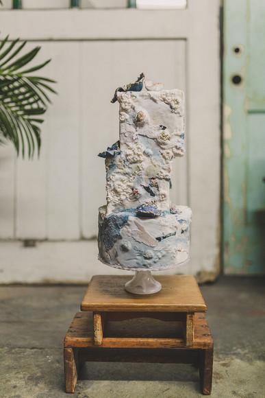Ocean and Geode inspired wedding cake