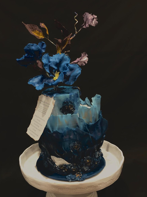 Blue Poppy and Bas Relief Cake