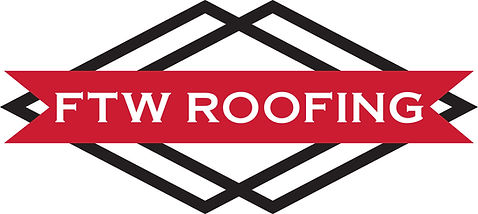 ftw roofing logo red black white letters