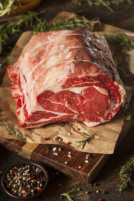 Raw Grass Fed Prime Rib Meat with Herbs
