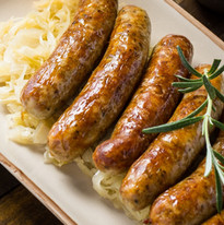 Homemade Pork Sausages with Cabbage, Mus