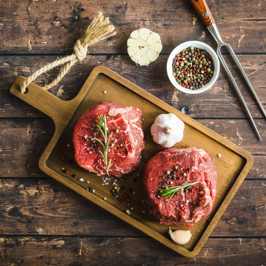 Raw marbled meat steak Filet Mignon with