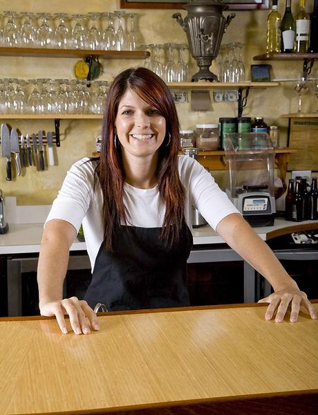 Waitress Behind Counter