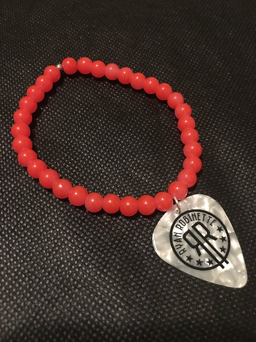 Custom Neon Beaded Bracelet with RR Logo Guitar Pick