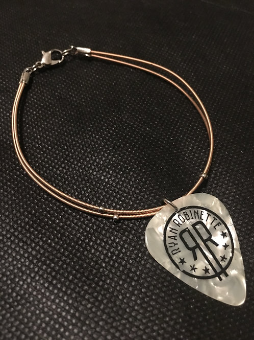 Custom Gold Guitar String and Pick Bracelet