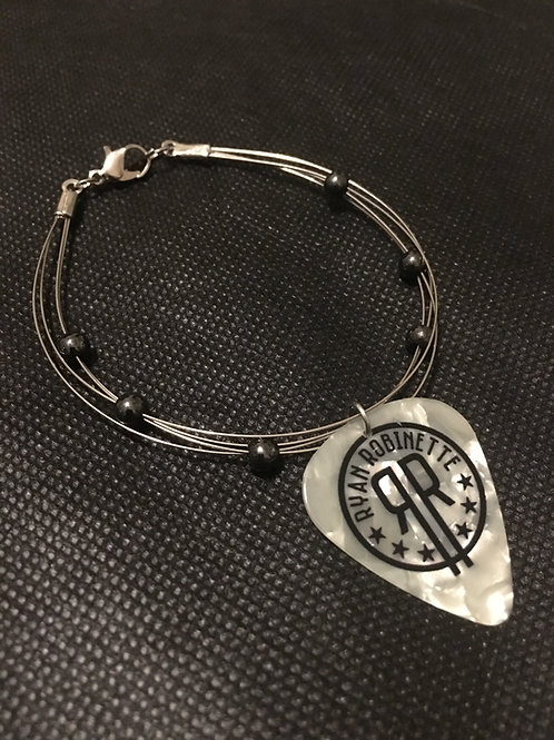 Custom Silver Guitar String and Pick Bracelet