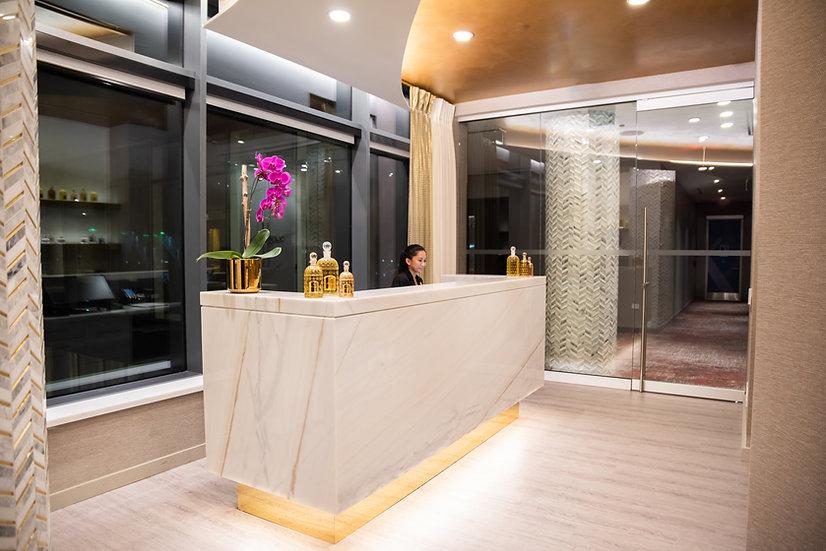 Reception area of Guerlain Spa at Hotel X Toronto.