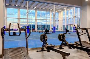 4th Floor Fitness Centre Looking onto Tennis Courts