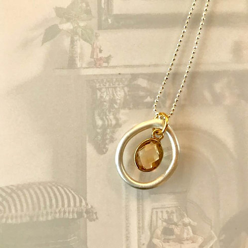 Pretty Satin Finish Argentium Silver Necklace with Gold Plated Vermeil Charm