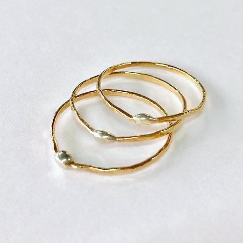 Organic 14ct Gold Filled Skinny Stacking Rings