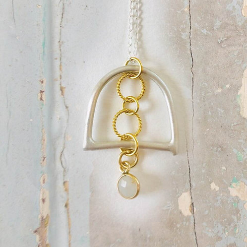 Silver Bell with Gold Vermeil Circles and Quartz Charm