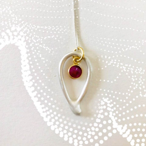 Inverted Satin Finish Droplet with Ruby Gold Plated Vermeil Charm