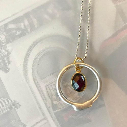 Pale Satin Finish Argentium Silver Necklace and Gold Plated Vermeil Charm