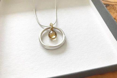 Satin Argentium Silver and Citrine Pendant Necklace
