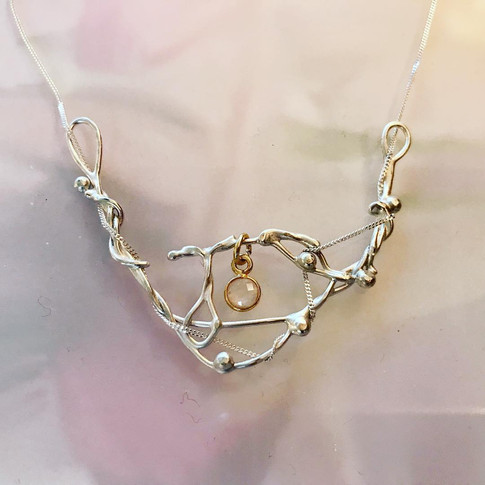 Argentium Silver and Gold Plated Vermeil and Rose Quartz charm Pendant