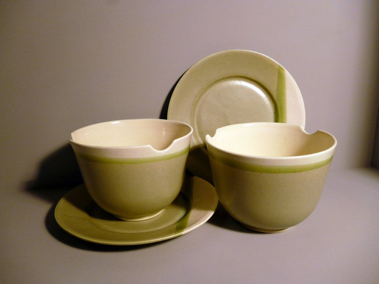 2 x Bell Bowl and Plate Set with-Chopstick-Rests in Sage Green