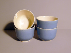 Set of 4 Small Bell Bowls in our Blue Satin Glaze