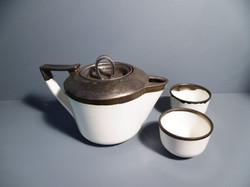 Bronze-Rim-Tea-Pot-and-2-Tea-Bowl-a