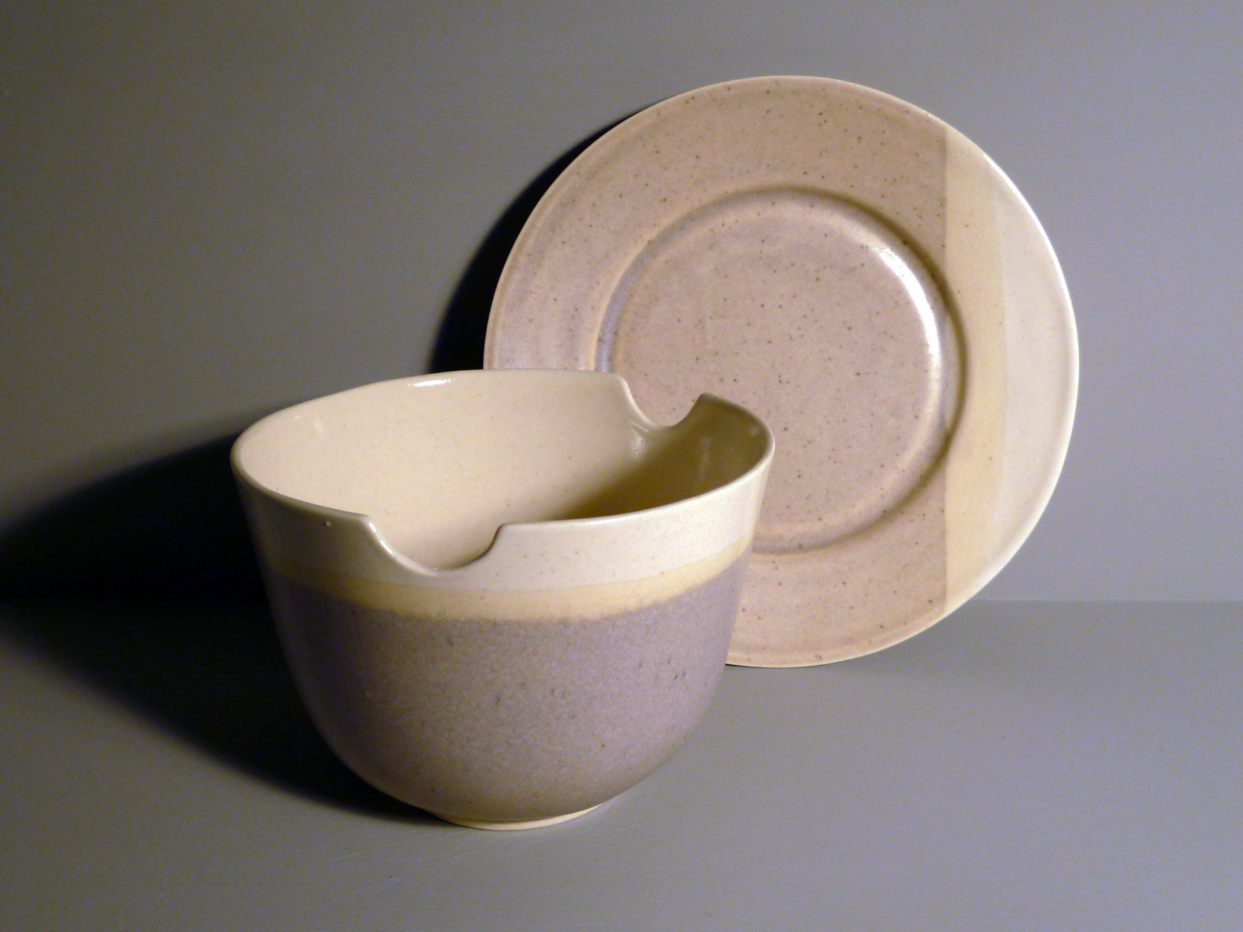 Bowl-with-Chopstick-Rests-and-Plate-Set-in-Ochre