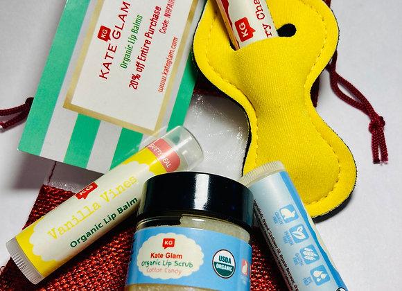 100% Organic Lip Balm Bag - extra organic lip scrub FREE!