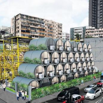 Microcasas tubulares em Hong Kong