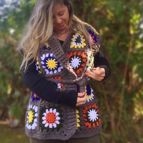 Colete/Kimono com Quadradinhos