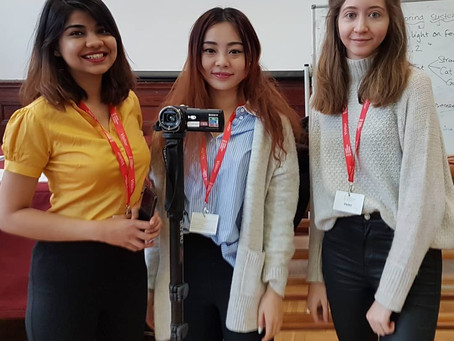 Cardiff University students filming at Kings Monkton School