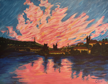 Sunset over the Vltava