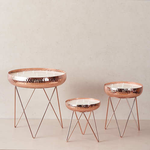 Rosegold Hammered Candle Urlis on a stand - Set of 3