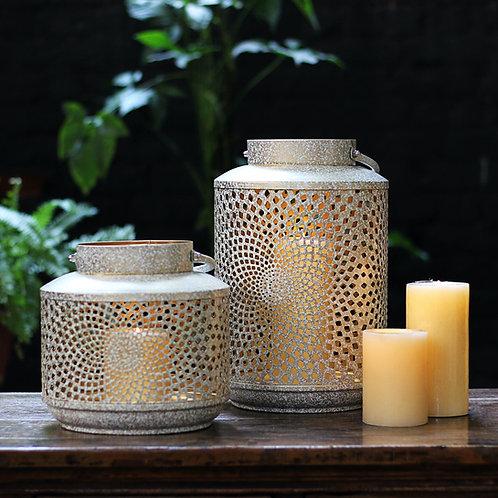 White Gold Antique Lantern - Set of 2