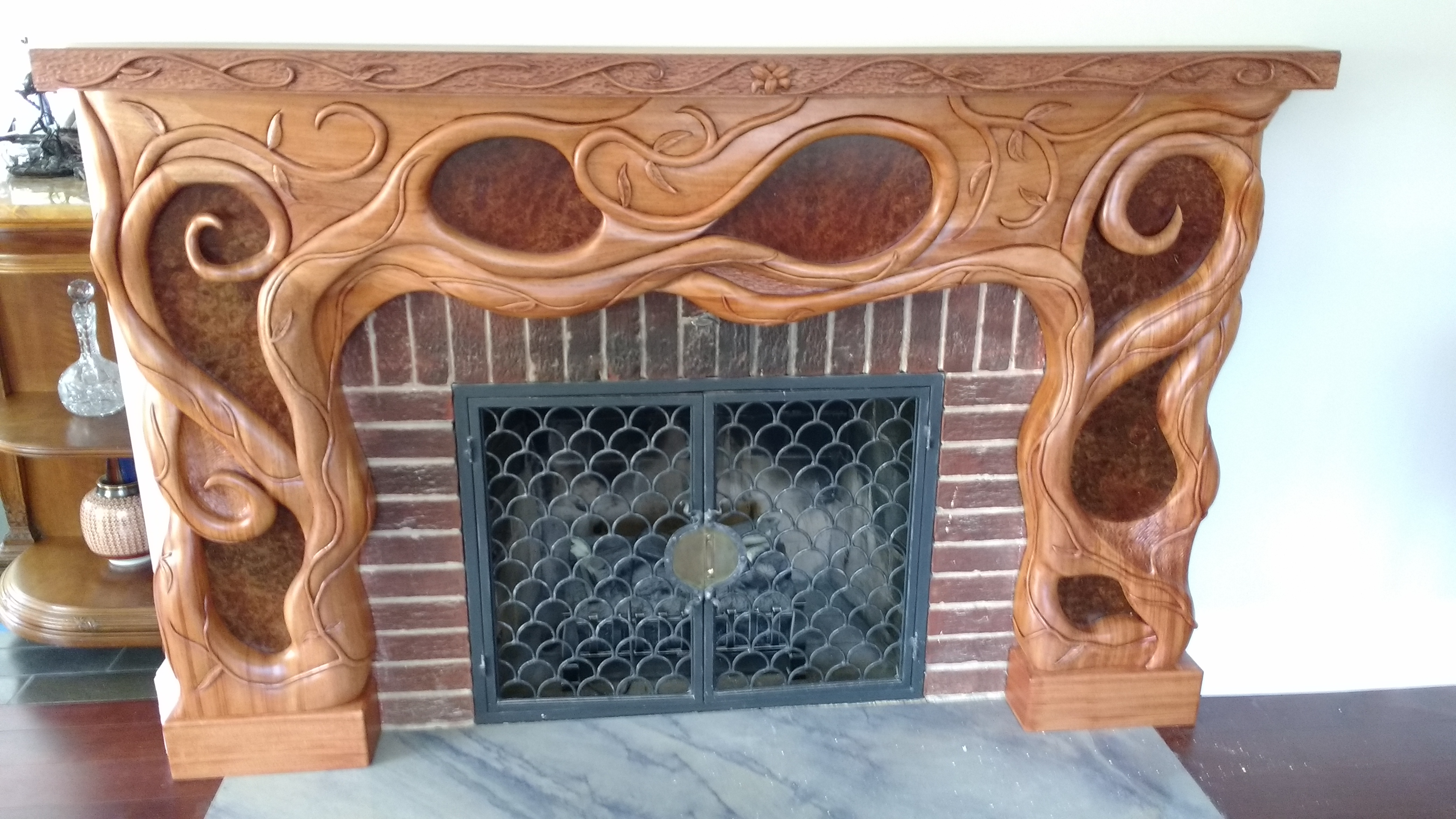 Hand Carved Mantle