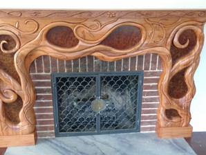 Hand Carved Solid Mahogany Mantle for Sale call us to inquire.