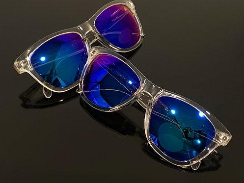 Pair of clear Clovr Sunglasses on a table.