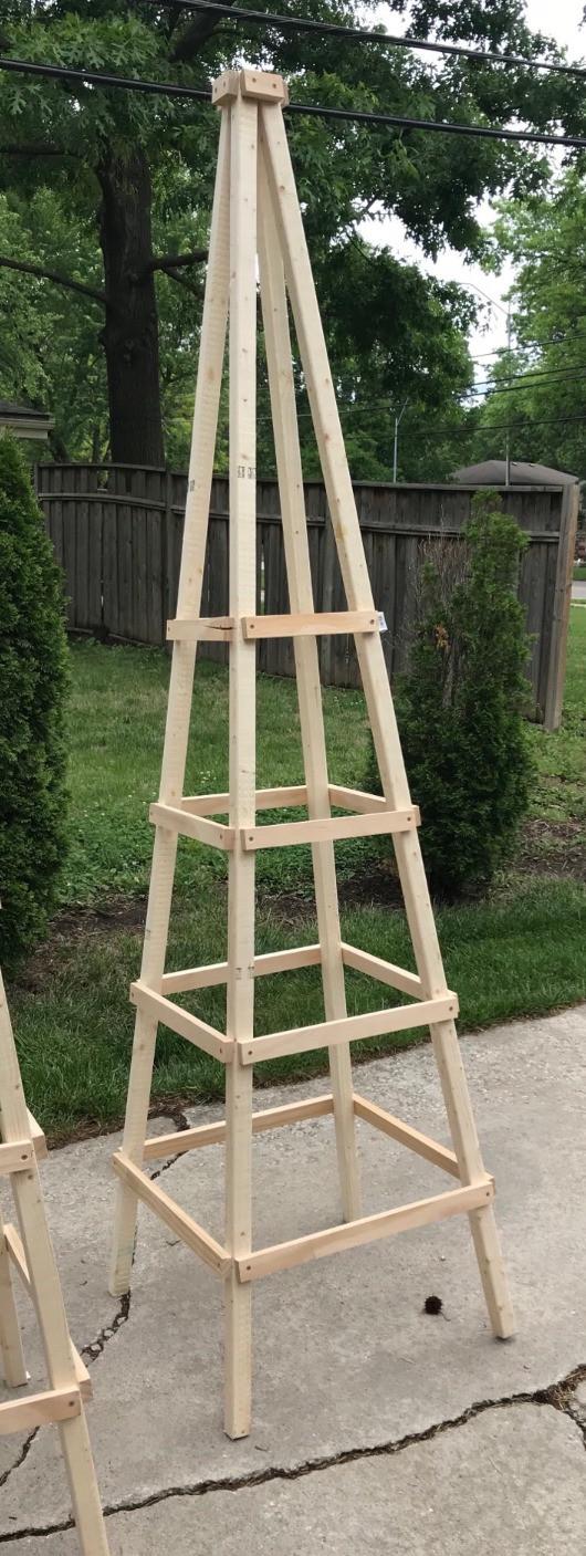 completed wooden garden obelisk