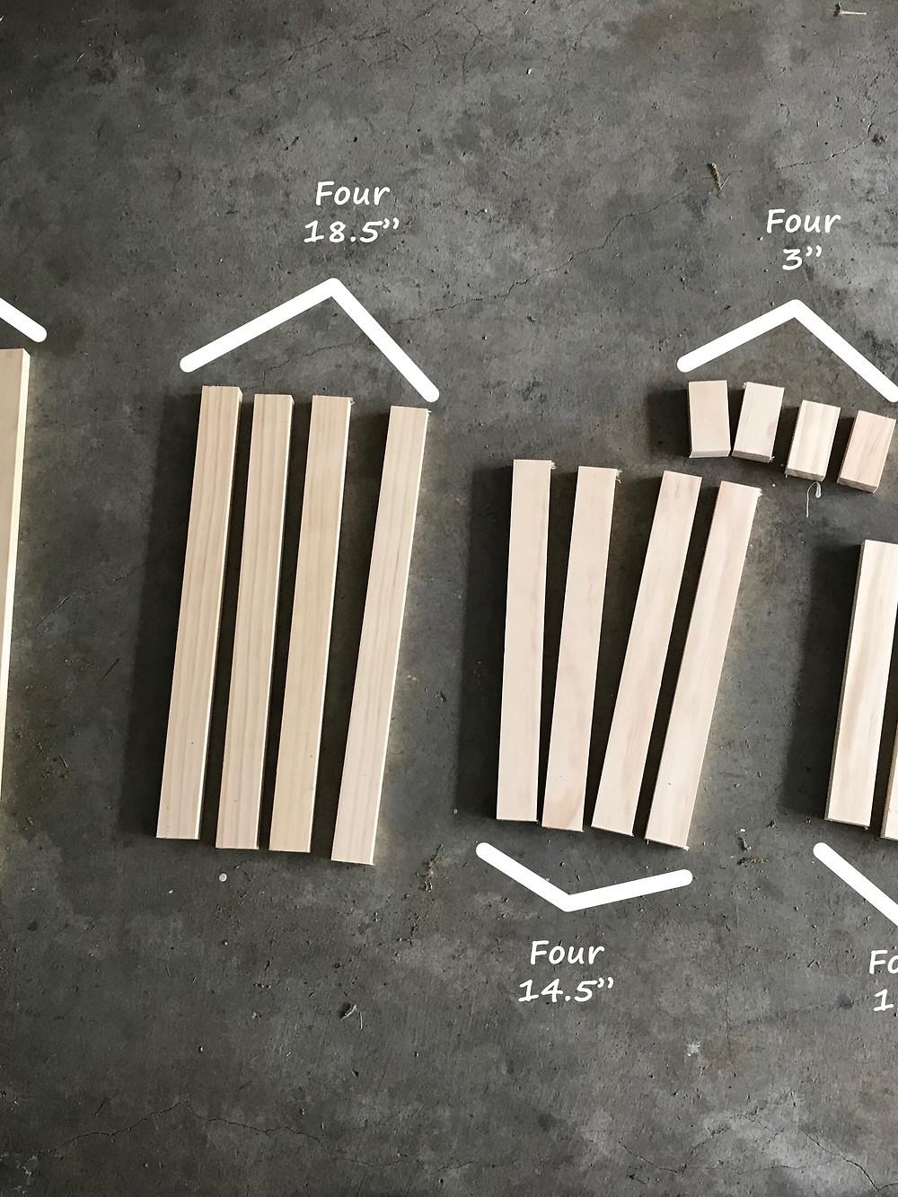 wooden garden obelisk cut pieces